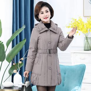 雪暖品牌大码妈妈装中年女士羽绒服女中长款修身收腰显瘦2142