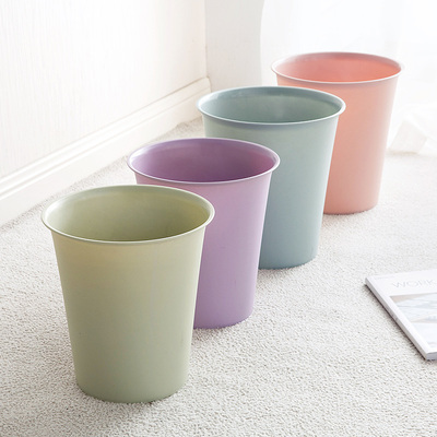 Plain color plastic trash can Living room trash Household toilet Kitchen European-style coverless paper baskets