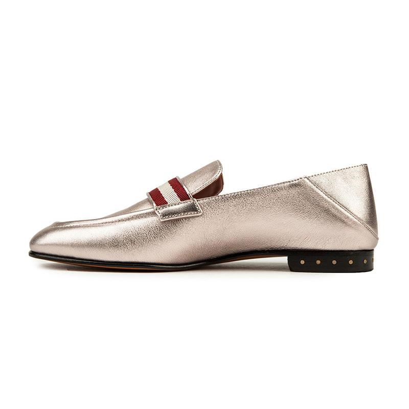 BALLY巴利黑色羊皮材质经典条纹装饰女士平底单鞋