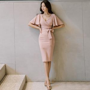 【高档女装】A732#台湾韩版女装气质V领荷叶边系带修身包臀连衣裙高档裙子