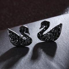 日韩,时尚,高贵,钛钢,黑色,镶钻,小天鹅,耳钉,韩国,气质,银针,二丁,耳饰,天鹅