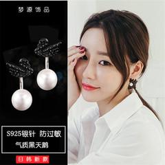 925纯银,黑天鹅,珍珠,耳钉,韩国,简约,个性,气质,耳环,耳坠,银针,天鹅