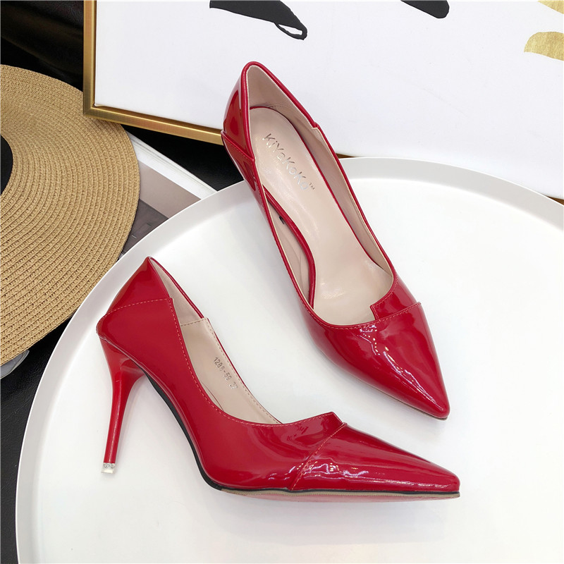 new_goods/Women's Fashion Square Heel Shoes Pointed Toe Shallow High-H...