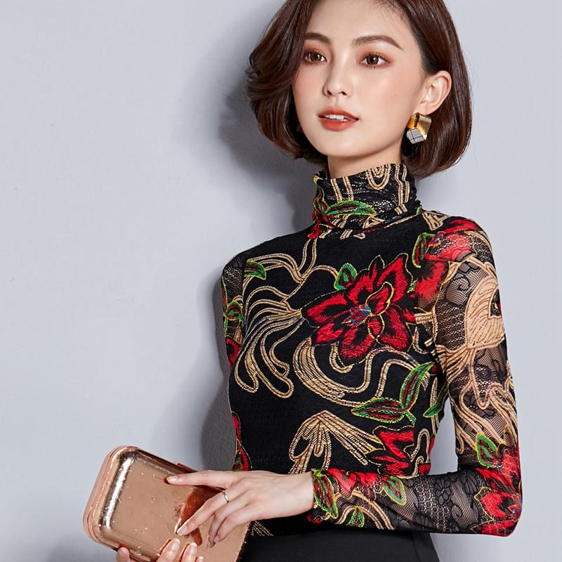 秋語繁花2018新款時尚修身長袖百搭高領鏤空印花蕾絲衫打底衫