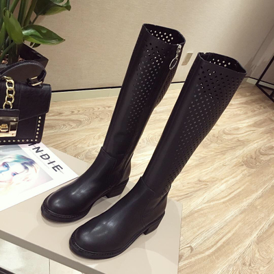 Hollow out boots in the autumn fashion female motorcycle boo...