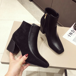 category/Shoes/Women Boots Winter Shoes High Heels Square Toes Ankle Boots ...