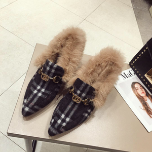 category/Shoes/2018 New Fashion Soft Rabbit Hair Sexy V Mouth Fur Slides Po...