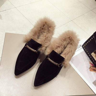 2018 Winter Woman Slippers Pointed Toe Fashion Real Rabbit H...