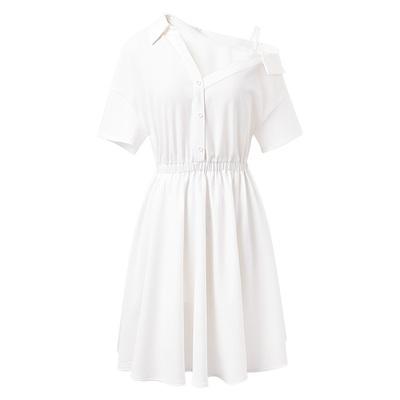 一字露肩雪纺衬衫连衣裙女装2019夏季新款气质收腰显瘦白色仙裙子