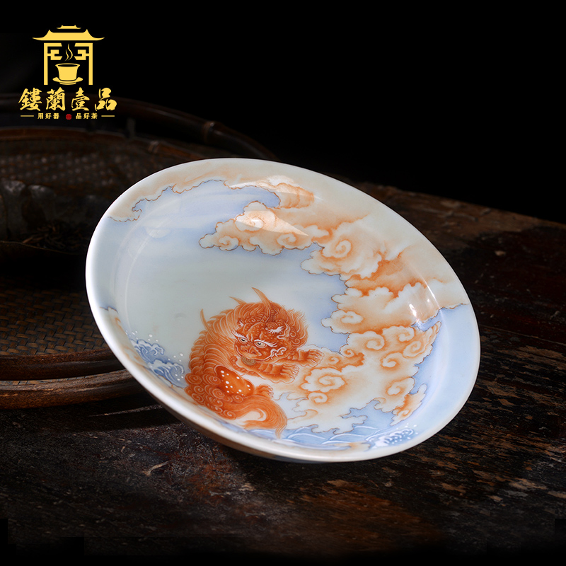 Jane hall alum spill red the mythical wild animal pot bearing cup jingdezhen ceramic hand - made decorative sit completely dish to admire the tray of tea, furnishing articles