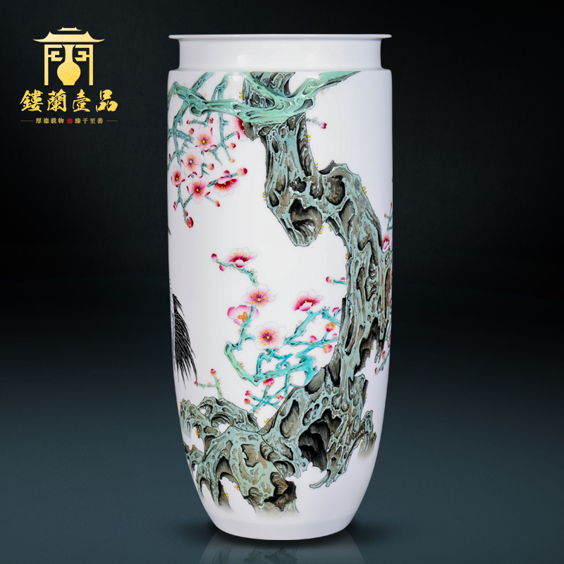 The Master of jingdezhen ceramic all hand - made powder crane span large decorative vase flower arrangement of Chinese style household furnishing articles in thousand