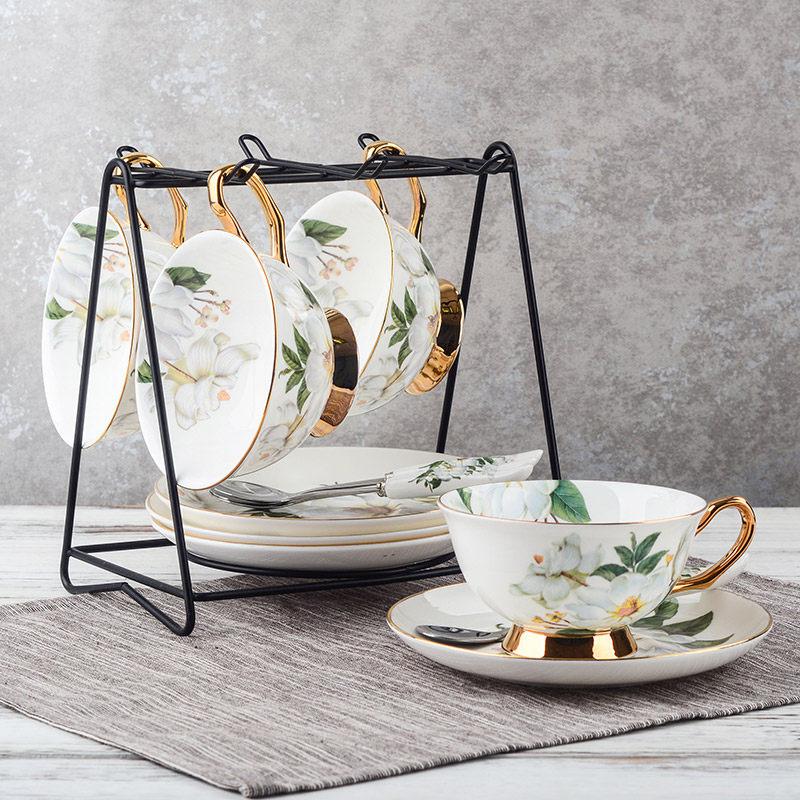 四福 欧式宫廷陶瓷咖啡杯子套装 英式下午茶杯红茶 复古英伦玫瑰