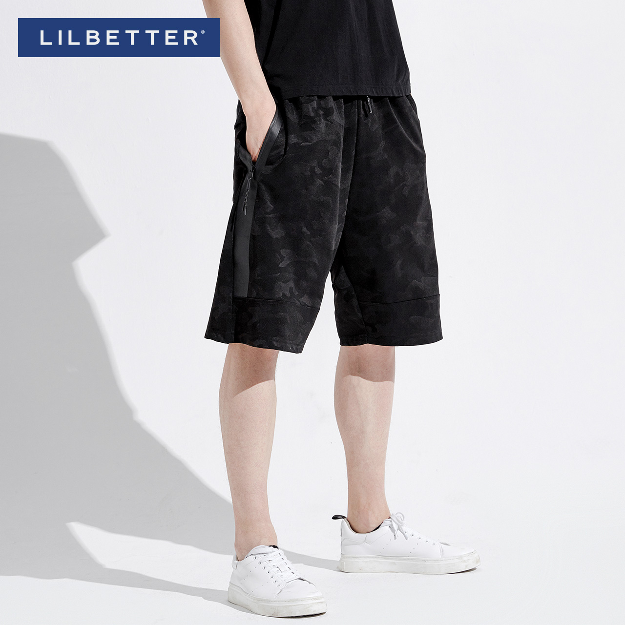lilbetter短裤男 夏季2018迷彩LB中裤休闲沙滩裤潮牌男士五分裤