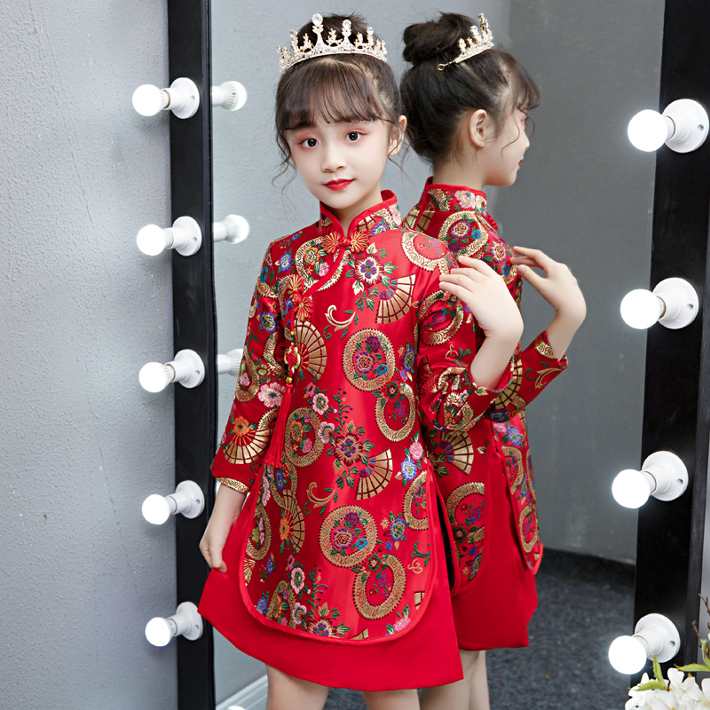 女童旗袍中国风汉服秋冬儿童新年装长袖唐装女孩古装宝宝拜年服女