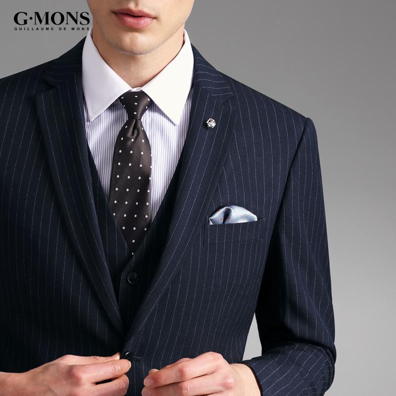 西服套装男士条纹商务休闲西装男新郎结婚韩版修身职业正装三件套
