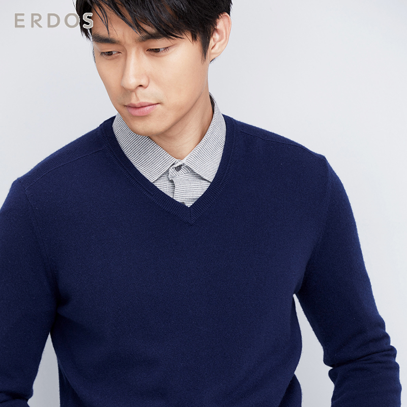 ERDOS 秋冬 商务羊绒V领羊绒衫男针织衫E173A0061