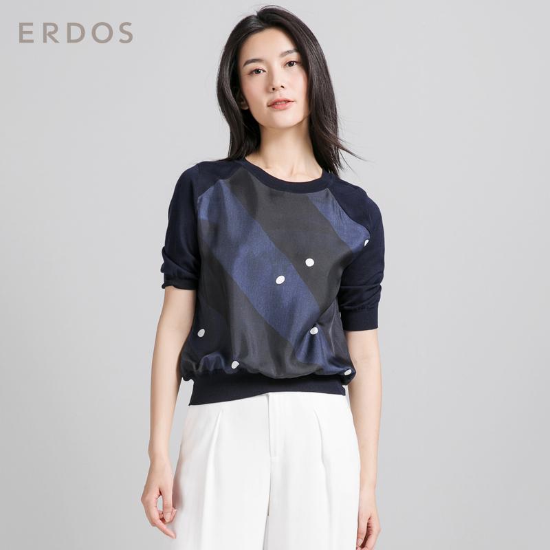 ERDOS 18春夏新品条纹波点针梭拼接圆领半袖女T恤 E285G0012