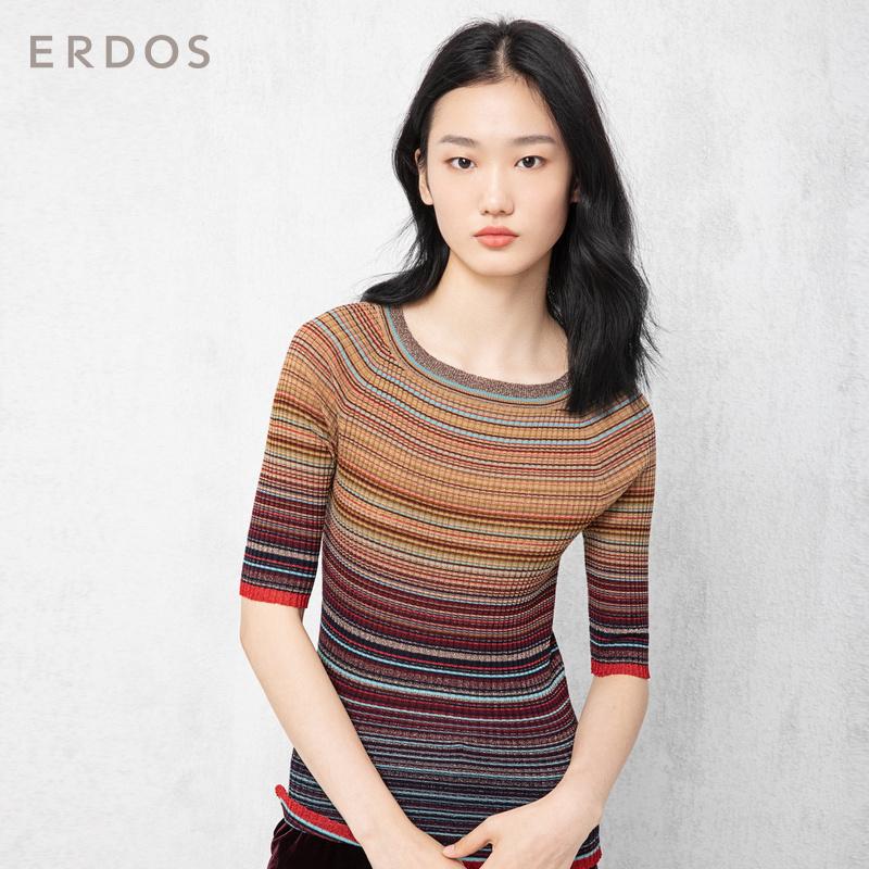 ERDOS 18秋冬新品圆领设计横条纹螺纹肌理半袖女针织衫E286D0030