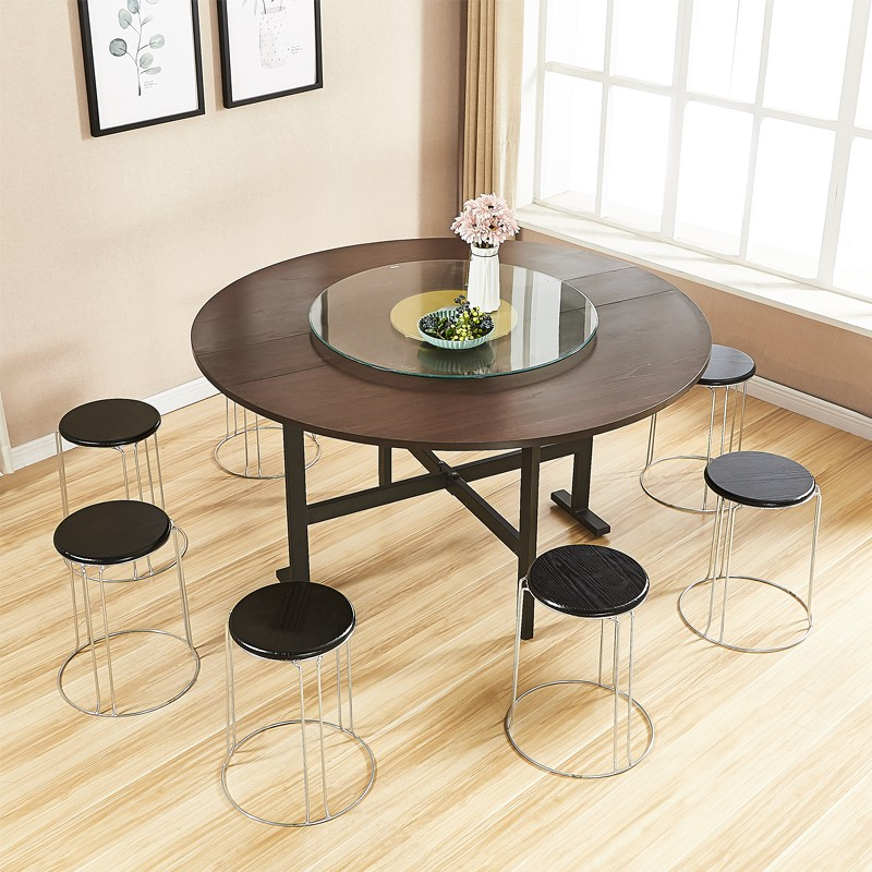 Household round table folding table foldable mobile table simple multi-function hotel round table top 30 fold table