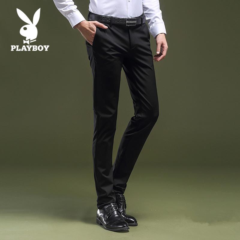 花花公子贵宾男士休闲裤春夏季商务西裤青年弹力黑色修身宽松裤子