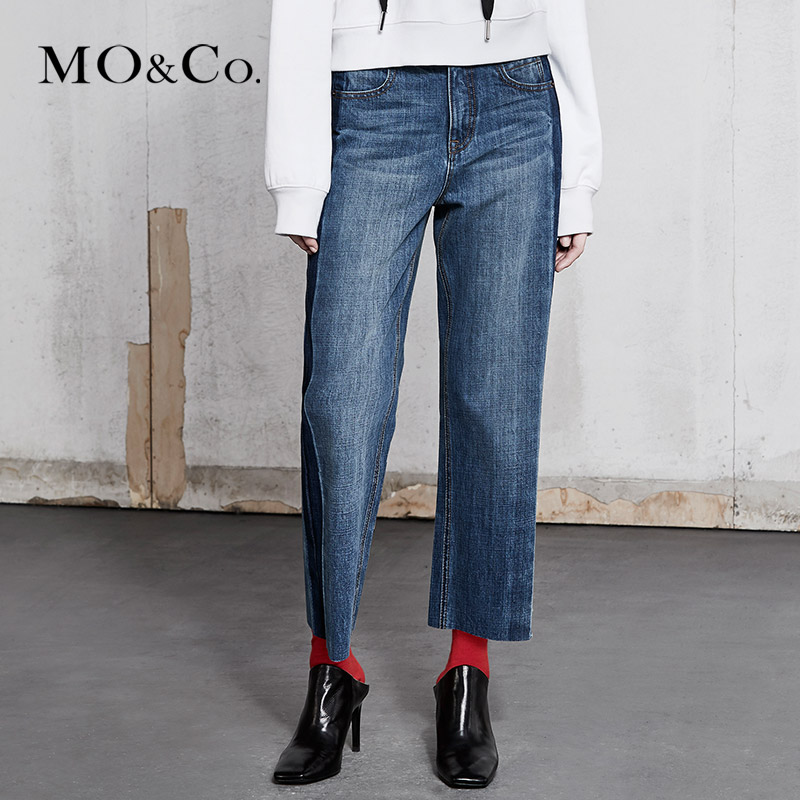 MOCO牛仔印染拼接猫抓痕高腰洗水牛仔裤MA181PAT416 摩安珂