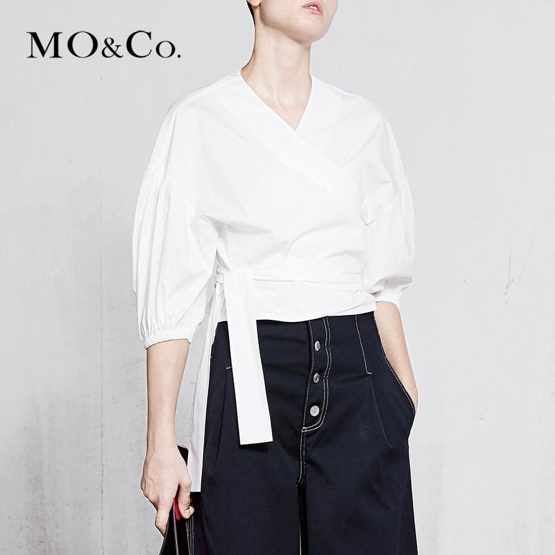 MOCO2018春季新品交叉V字领绑结七分袖衬衫MA181TOP121 摩安珂