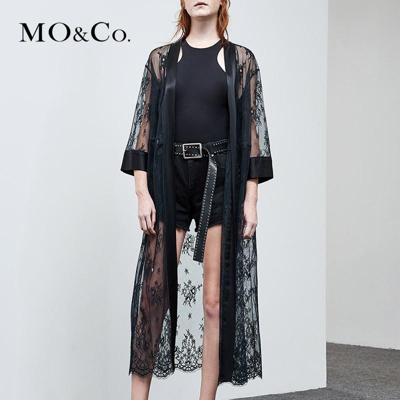 MOCO2018夏季新品中长款睡袍式收腰蕾丝外套MA182COT201 摩安珂