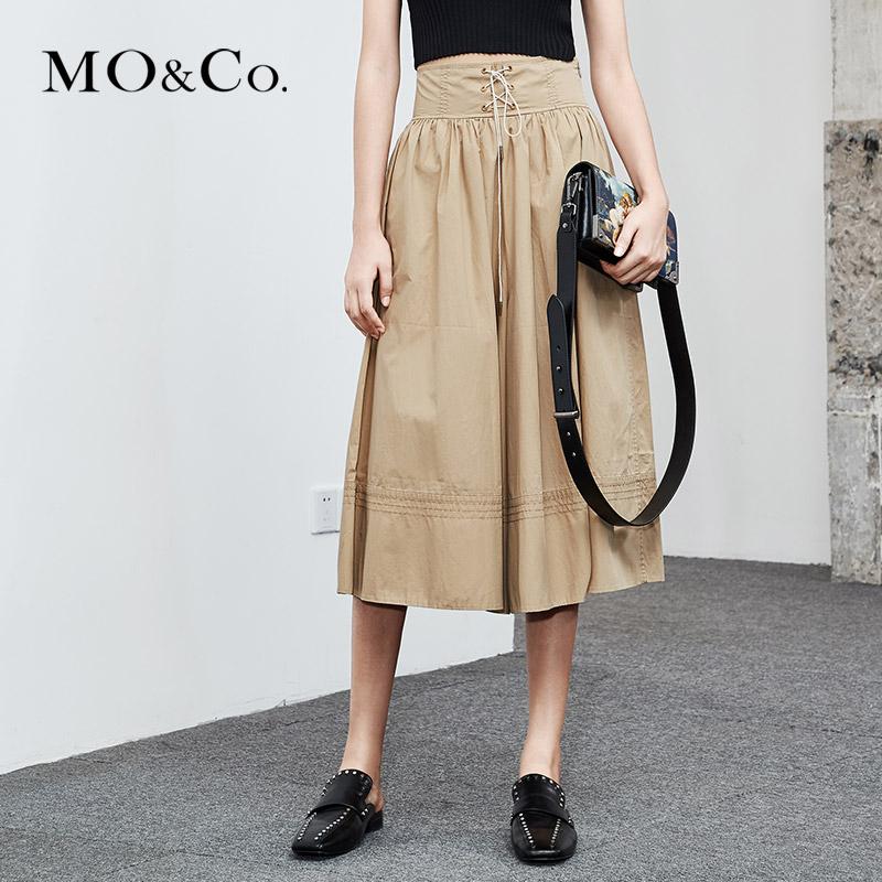 MOCO2018夏季新品高腰绑带腰封休闲阔腿裤MA182PAT116 摩安珂