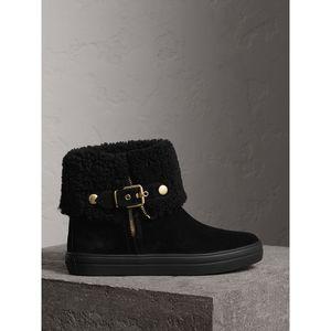 BURBERRY2018新款高帮女鞋休闲毛羊皮内里麂皮及踝靴8折上新