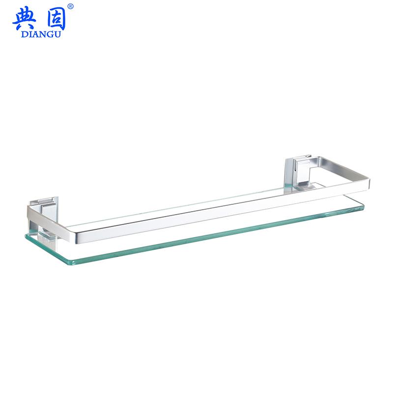 钢化玻璃浴室置物架 卫生间玻璃置物架带毛巾杆 壁挂化妆台架单层