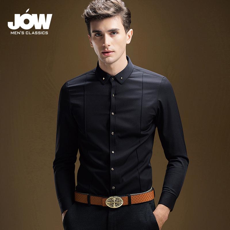 JOW-乔沃商务衬衫男长袖加绒加厚免烫衬衣休闲方领黑色保暖衬衫