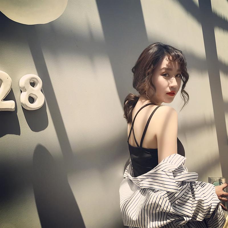 2017夏季新款韩版女装黑色修身百搭打底衫内搭吊带背心女夏