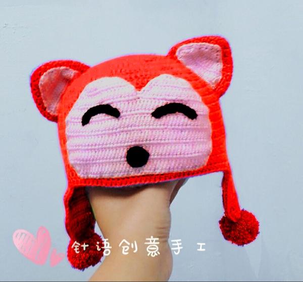 毛线钩织宝宝帽子 婴儿帽儿童护耳帽钩针阿狸帽毛线材料包送视频