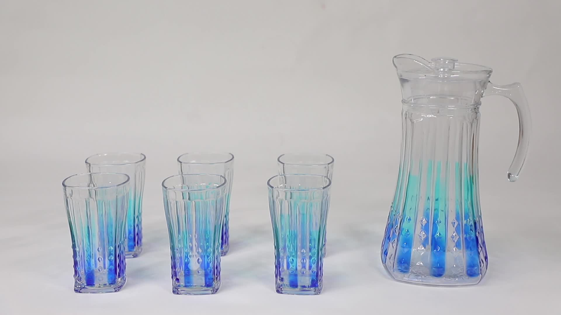 HOT SALE NEW mixing engraved 7pcs glass water jug set with lid