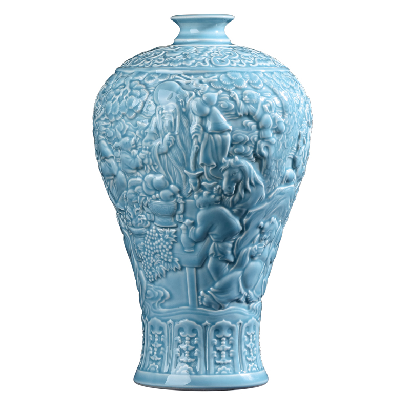 Jingdezhen ceramics green glaze anaglyph antique vases, flower arranging Chinese style living room home furnishing articles rich ancient frame decorations
