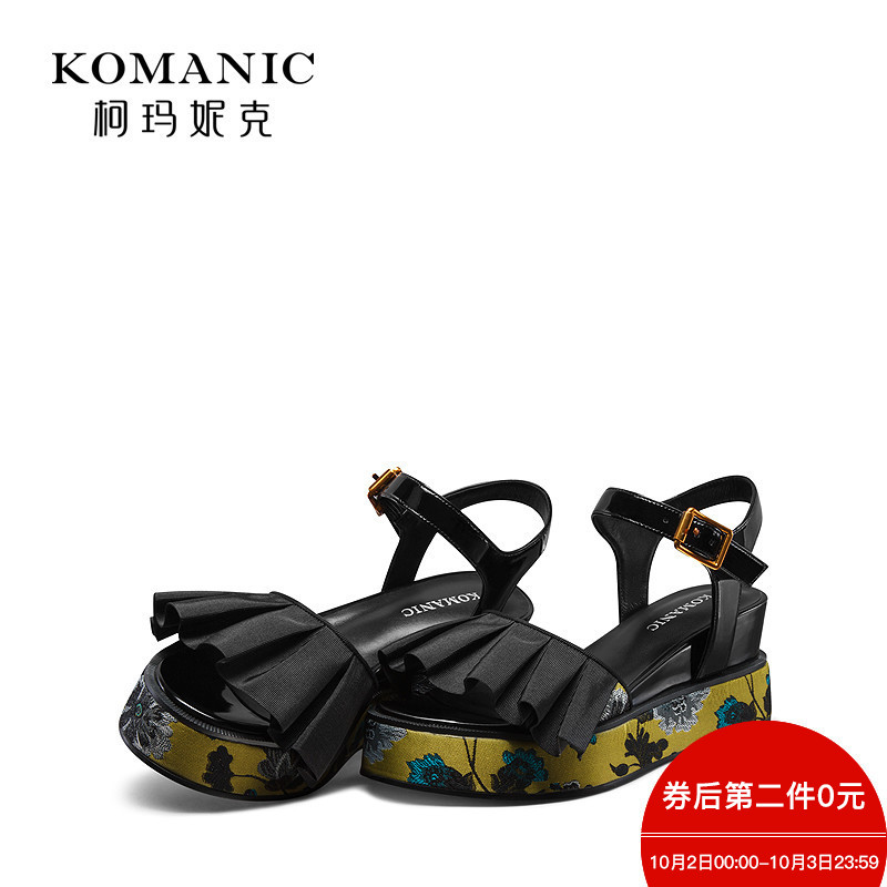 柯玛妮克 2018夏季新款露趾黄色女鞋 花布防水台凉鞋女高跟坡跟鞋