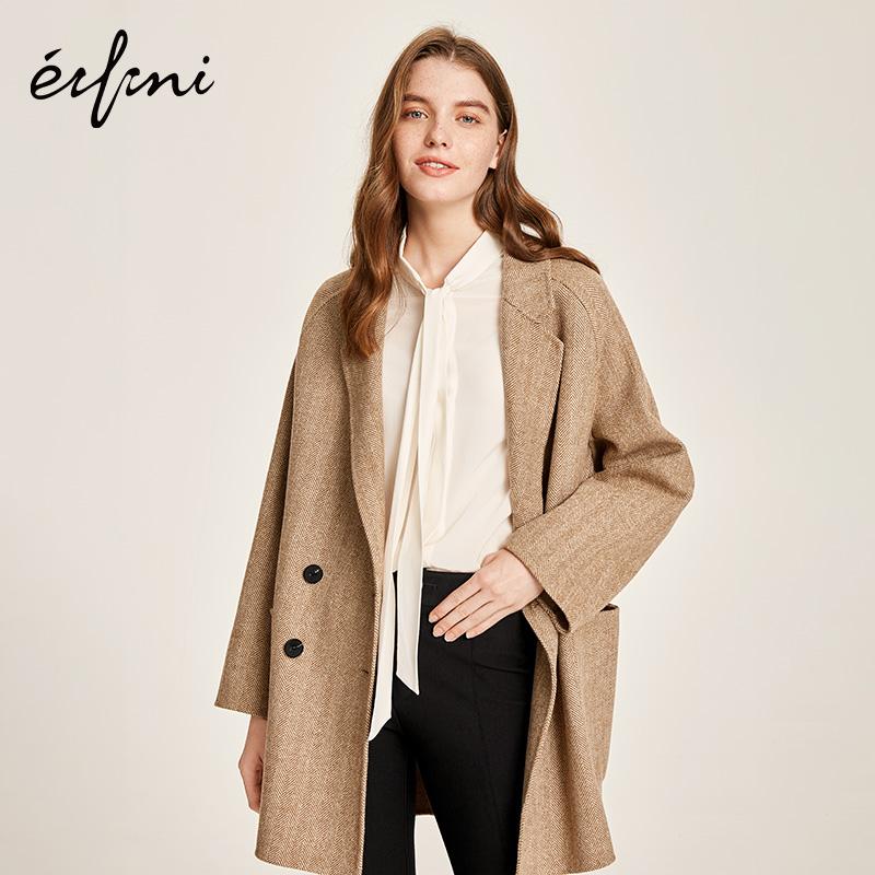 伊芙丽2018春秋新款人字纹双面呢大衣羊毛气质中长款毛呢外套女