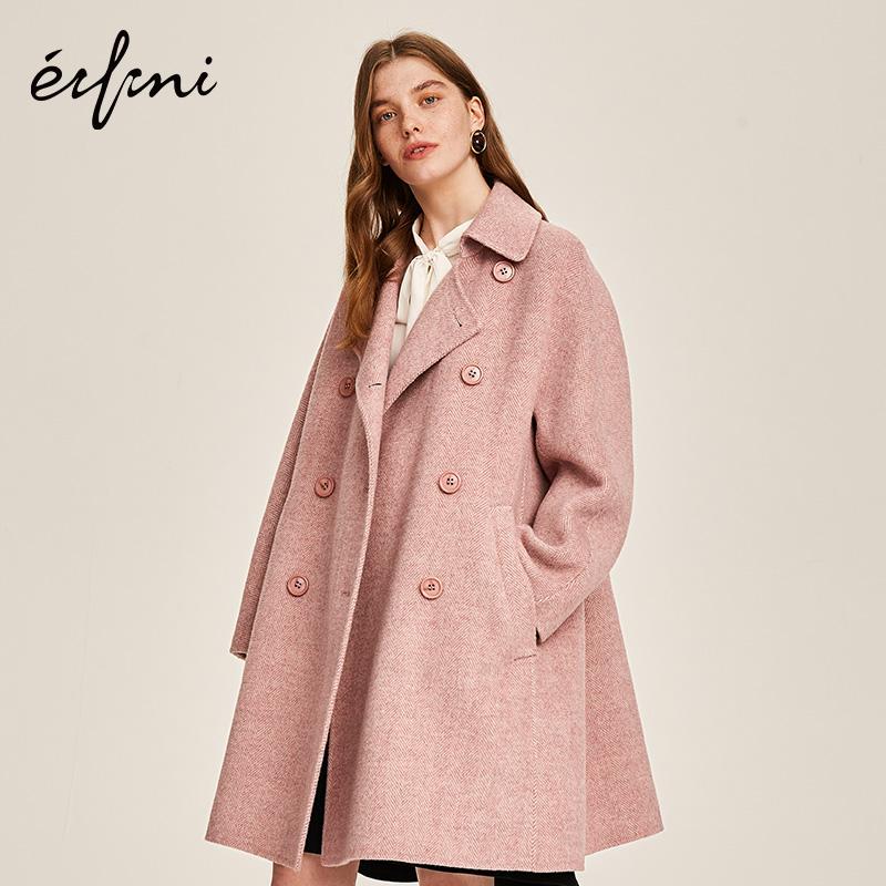 100%纯羊毛伊芙丽2018冬装新款宽松长款毛呢外套双面呢大衣女