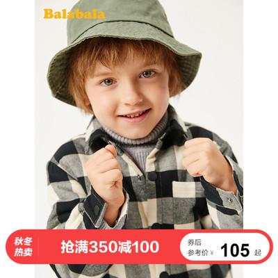 巴拉巴拉男童衬衫长袖童装秋冬2019新款儿童衬衣保暖加绒加厚格子