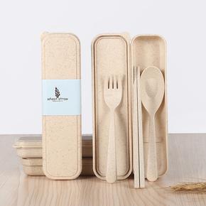 韩式小麦筷子勺子叉子便携餐具