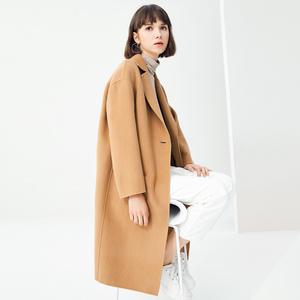 高梵2018冬季新款双面绒羊毛呢大衣女中长款毛呢外套赫本风无羊绒