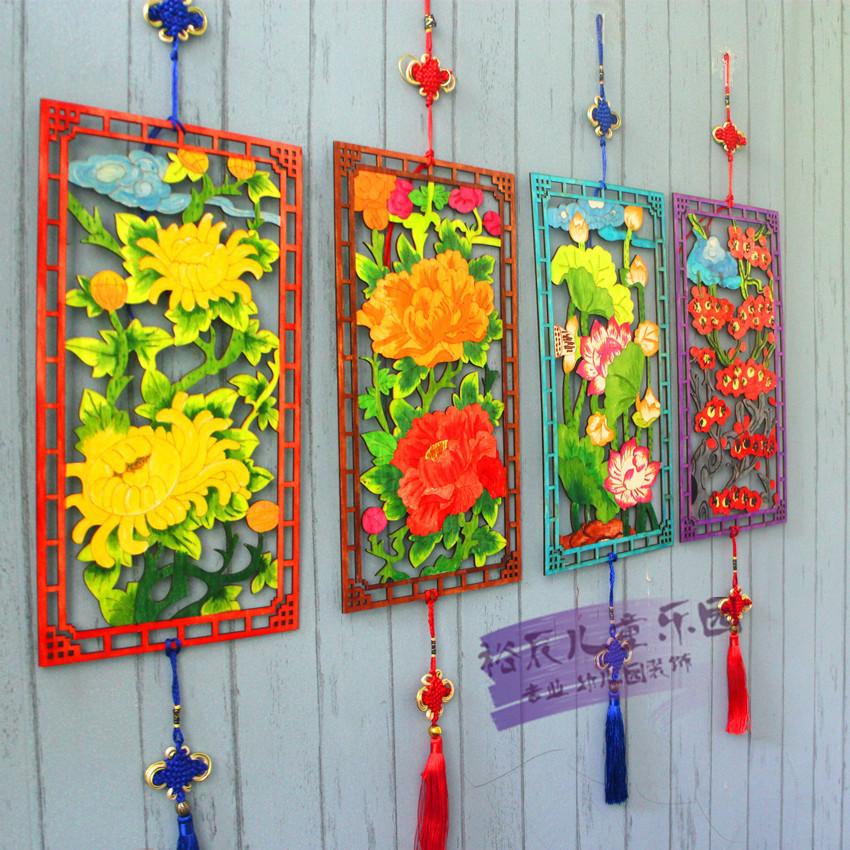 幼儿园装饰材料儿童手绘diy制作涂鸦手工填色木版画中国风吊饰