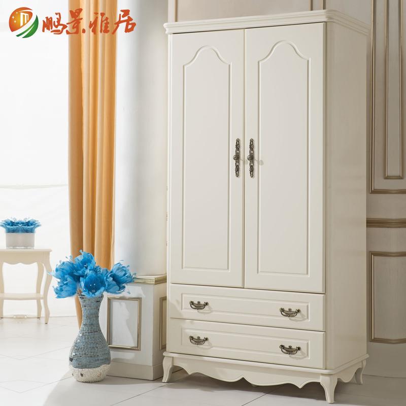 鹏景雅居 美式2门衣柜韩式木质衣柜欧式儿童小衣橱柜卧室家具 E21