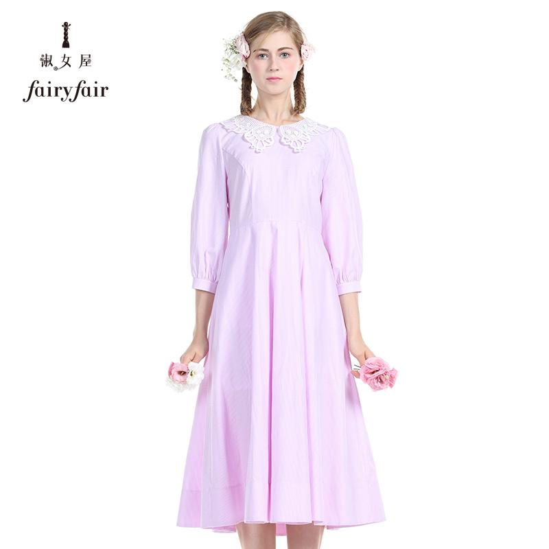 淑女屋2018春装新款女装优雅中袖连衣裙A字裙清晰小格子条纹长裙