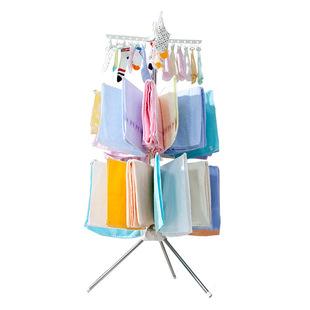宝优妮婴儿晾衣架落地折叠阳台不锈钢晒衣架儿童毛巾架宝宝尿布架