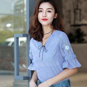 刺绣条纹纯棉T恤女短袖2018新款棉立方夏装气质少女V领宽松上衣