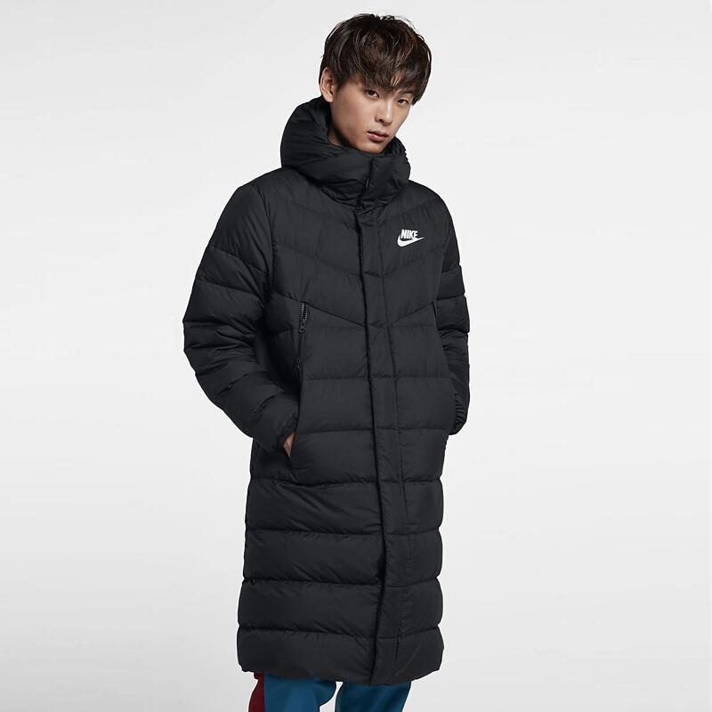 耐克羽绒服男2018冬季新款中长款休闲轻薄过膝外套正品AA8854-010