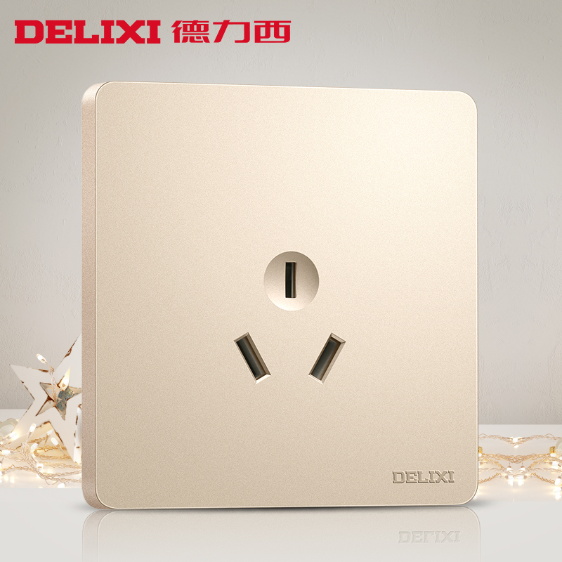 Delixi switch socket champagne gold flat plate three holes 16A socket 86 household socket wall panel