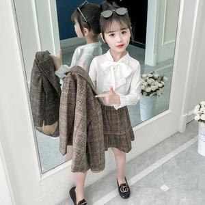 时尚城童套装2019春装女童格子两件套中大童甜美时尚裙套装蝴蝶结套装