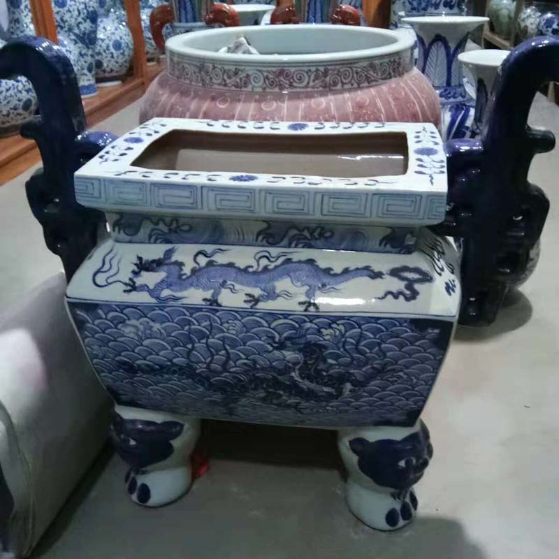 Jingdezhen hand - made blue large temple gods plugged ding xiang xiang furnace buddhist temple worship square porcelain pot furnishing articles